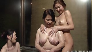 Hardcore lesbian fucking between a mature increased by a younger babe