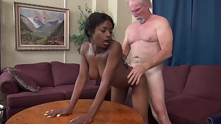 Evil old man - old and young interracial hardcore with perky tits ebony and grandpa