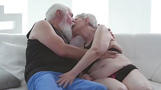 Old cadger fucks the old granny and cums beyond say no to saggy tits
