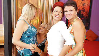 Four Old And Young Lesbians Having A Federate On Bed - MatureNL