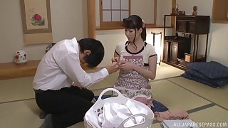 Japanese mom fucks clothed and swallows the jizz