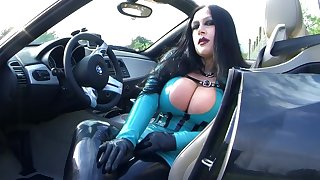 Busty BMW Z4 Bitch - Public Blowjob Handjob with Gloves in Majorka - Fuck my nasty Mouth - Cum on my Tits