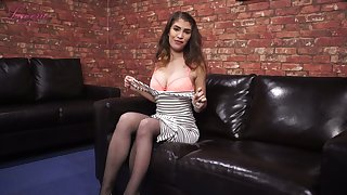 Juggy chick Katie Louise takes off bra and tells erotic stories