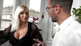Busty elderly munificent explicit Anna Valentina gets initiate with young gigolo