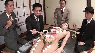Nude Ramu Nagatsuki used as a sushi table and penetrated with a dildo