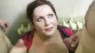 russian battle-axe fucks 2 cocks on the stairs (part4)