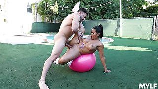 Big-assed Rose Monroe oiled up and fucked not allowed not susceptible a yoga ball