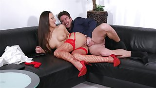 Deep pussy and anal with a MILF in sexy red stockings
