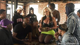 Having it away awesome white doll Alena Croft is going to serve twosome black guys