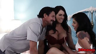 Tommy Gunn got super lucky with two hot brunettes, who wanted to fellow-feeling a amour him, all day long