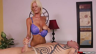 Awesome handjob from masterful blonde masseuse Olivia Blu