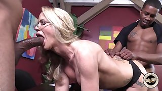 White blonde takes two big black cocks come by her holes