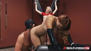 Intense BDSM threesome with sexy Dani Jensen and Arya Fae
