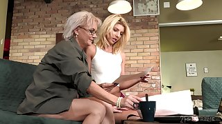Aging lesbian Elvira is fond of beautiful young making of 19 yo model Missy Luv