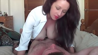 Amateur brunette squeezing her milky nipples