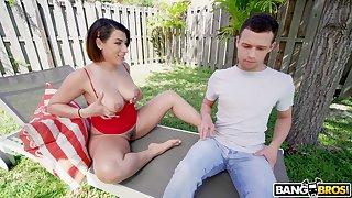 Wrong is spying on hot nextdoor chick sunbathing in thongs