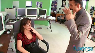 Horny busty nerdy secretary gives such a sensual solid blowjob