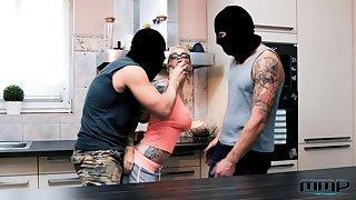 Masked burglars end almost bonking both these hotties