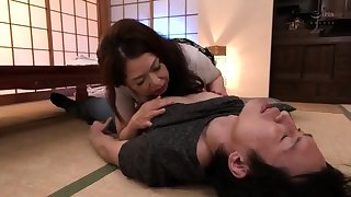 Sex-crazed asian of age milf popular blowjob and russian